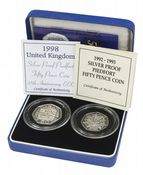 1992 and 1998 Silver Proof Piedfort 50p - EEC